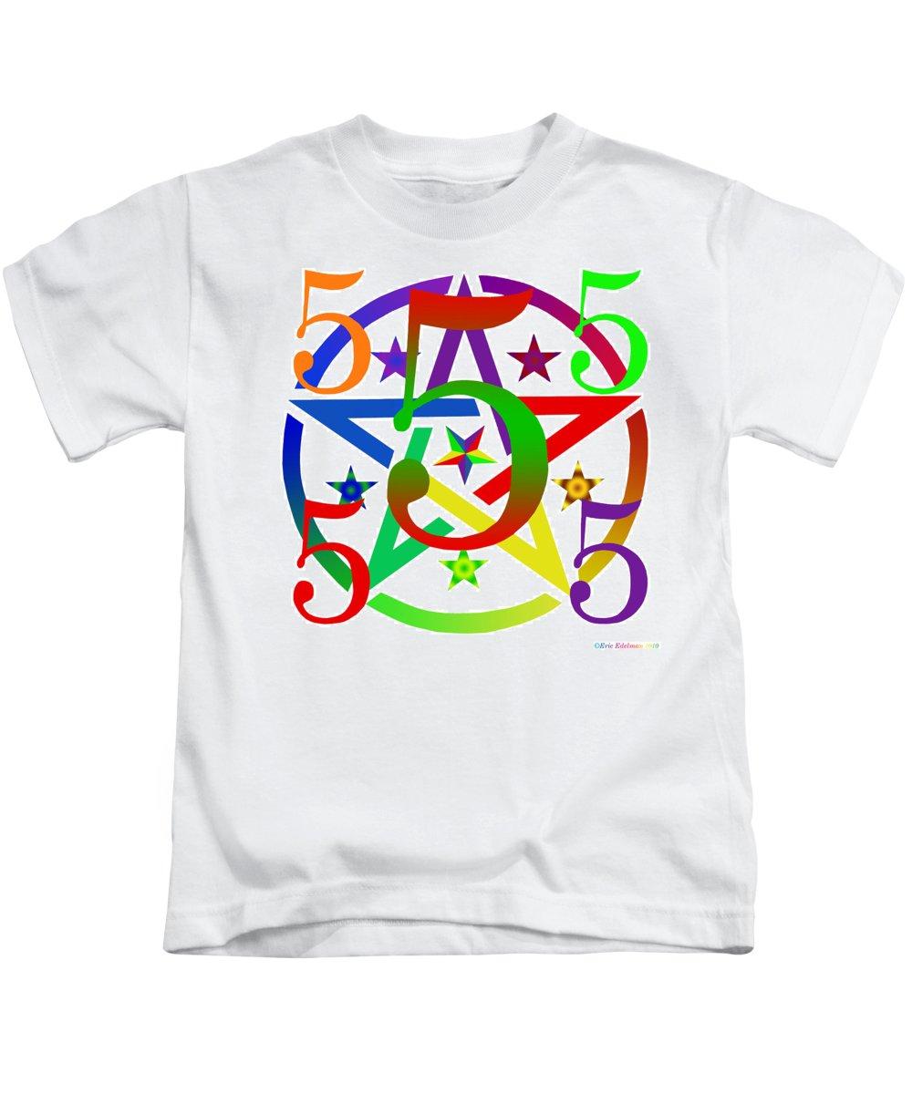 Pentacle Kids T-Shirt featuring the digital art Penta Pentacle White by Eric Edelman