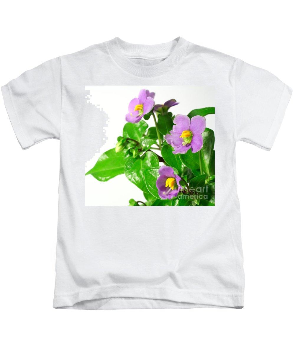 Closeup Kids T-Shirt featuring the photograph Persian Violets by Gaspar Avila