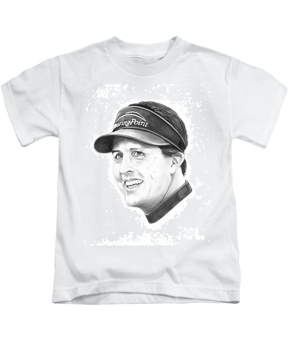 Portrait Kids T-Shirt featuring the drawing Phil Mickelson by Murphy Elliott