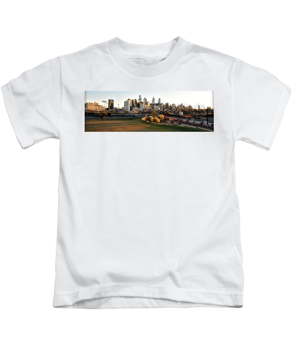 Philadelphia Kids T-Shirt featuring the photograph Philadelphia Cityscape From Penn Park In University City by Bill Cannon