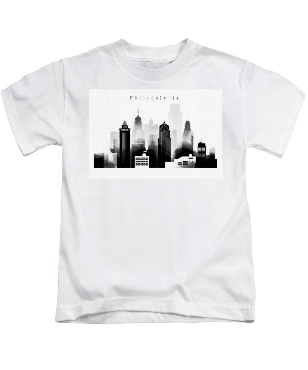 Philadelphia Kids T-Shirt featuring the digital art Philadelphia Skyline Graphic Work by Dim Dom