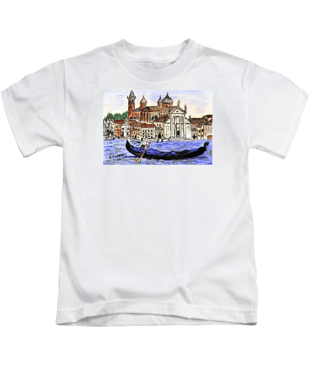 Piazzo San Marco Kids T-Shirt featuring the painting Piazzo San Marco Venice Italy by Arlene Wright-Correll