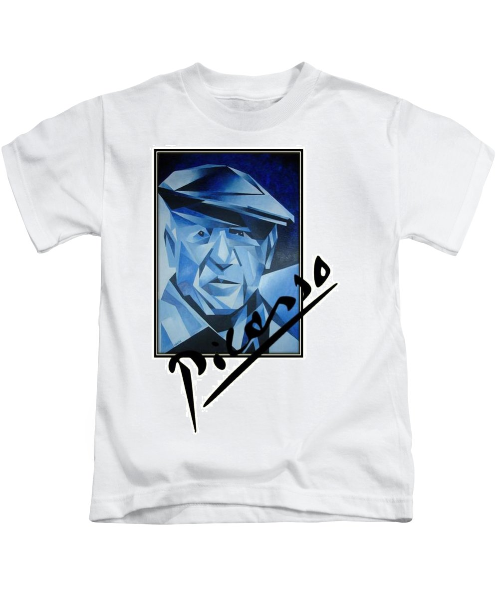 Artist Kids T-Shirt featuring the painting Picasso's Signature by Taiche Acrylic Art