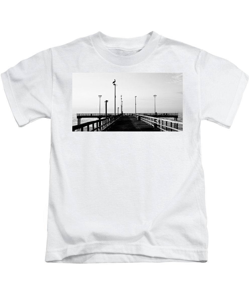 Bird Kids T-Shirt featuring the photograph Pier And Pelican by Marilyn Hunt