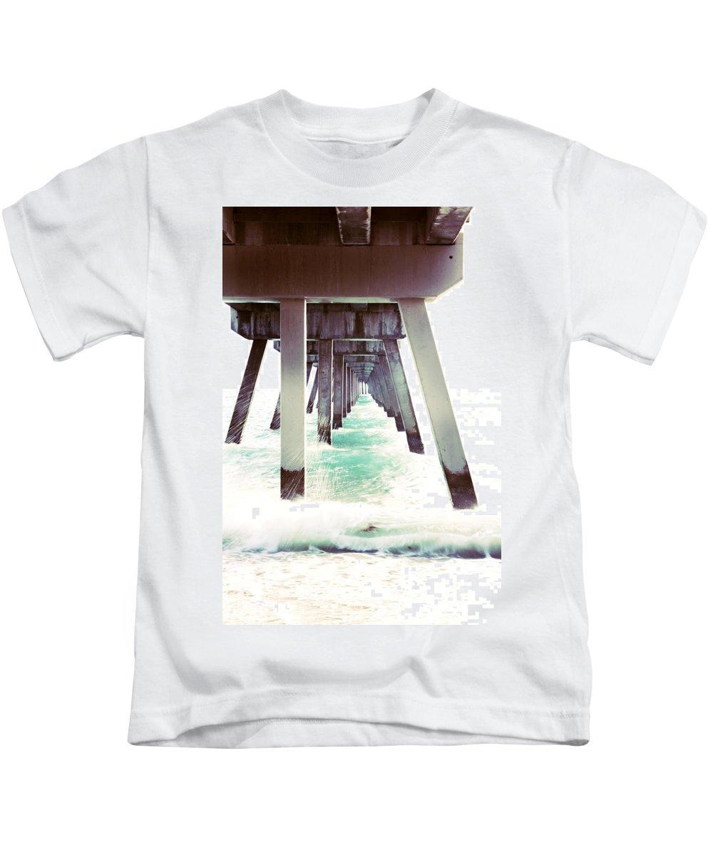 Ocean Beach Pier Water Photography Kids T-Shirt featuring the photograph Pier by Norah Holsten