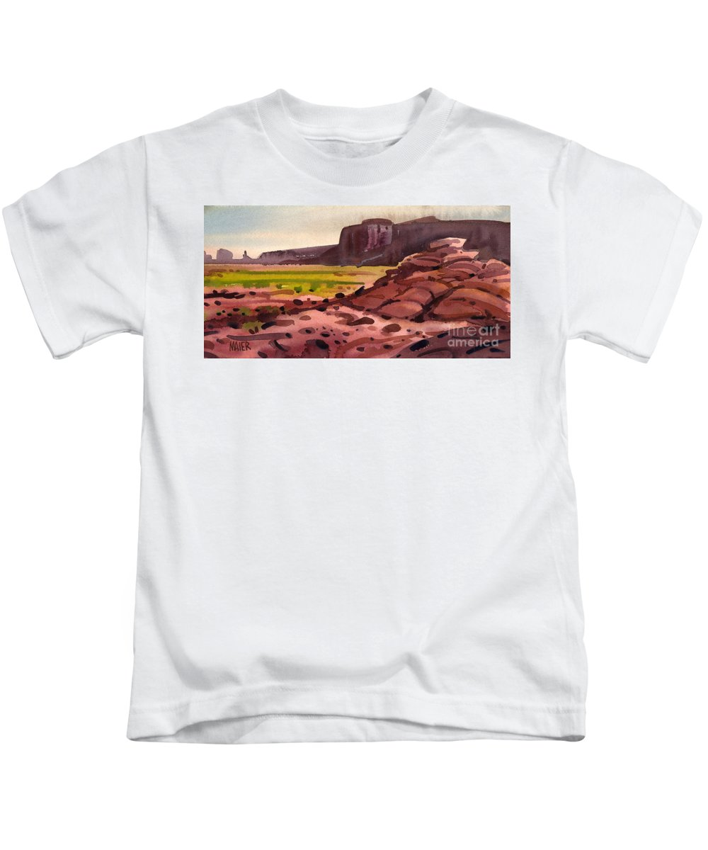 Monument Valley Kids T-Shirt featuring the painting Pillow Rocks by Donald Maier
