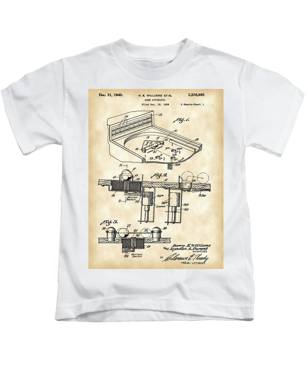 Pinball Kids T-Shirt featuring the digital art Pinball Machine Patent 1939 - Vintage by Stephen Younts