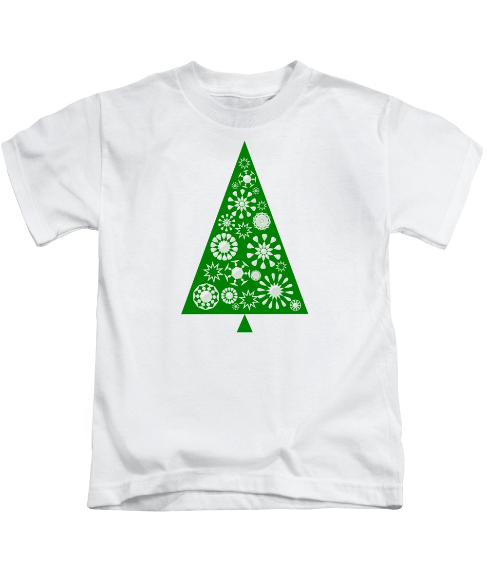 Interior Kids T-Shirt featuring the digital art Pine Tree Snowflakes - Green by Anastasiya Malakhova