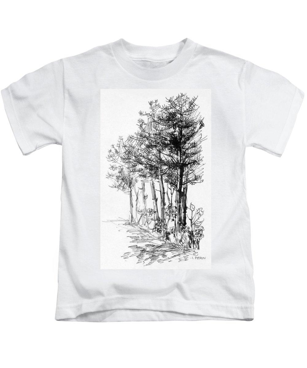 Pine Kids T-Shirt featuring the drawing Pine Trees by Iliyan Bozhanov