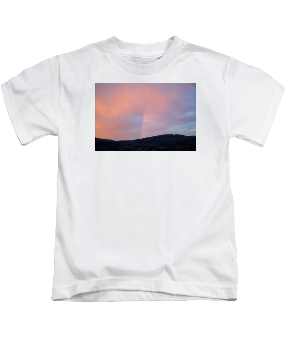 Pink Clouds Kids T-Shirt featuring the photograph Pink clouds with rainbow by Toni Berry