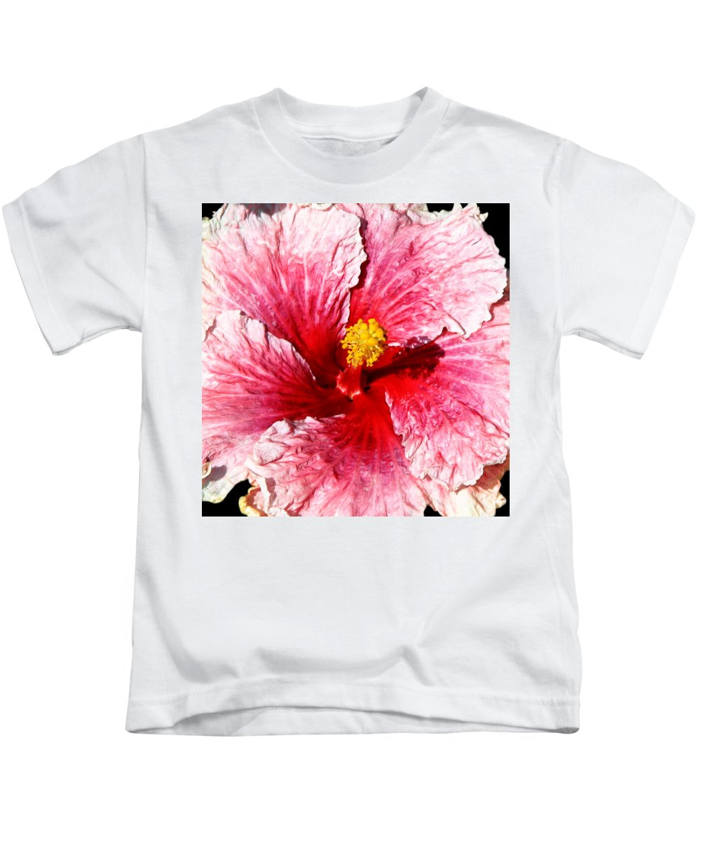 Flower Kids T-Shirt featuring the photograph Pink Hibiscus Inspired By Georgia O'keefe by Anthony Jones