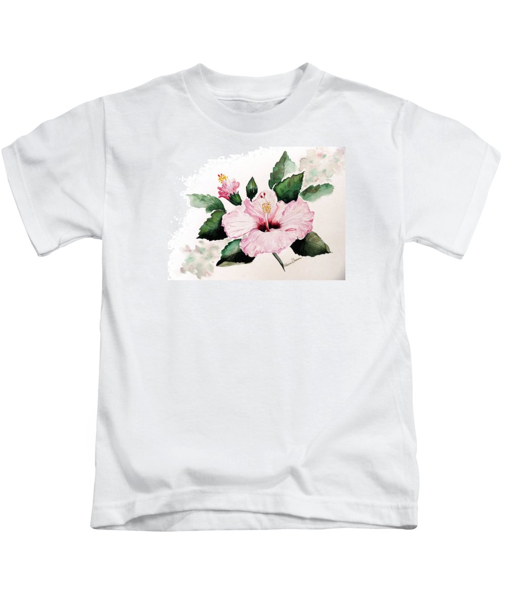 Hibiscus Painting  Floral Painting Flower Pink Hibiscus Tropical Bloom Caribbean Painting Kids T-Shirt featuring the painting Pink Hibiscus by Karin Dawn Kelshall- Best