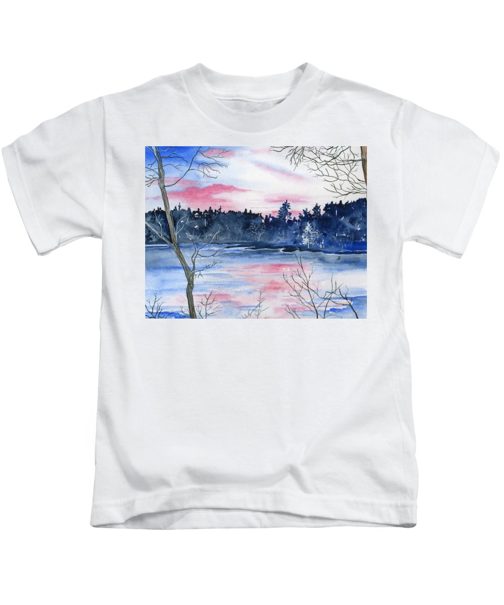 Watercolor Kids T-Shirt featuring the painting Pink Sky Reflections by Brenda Owen