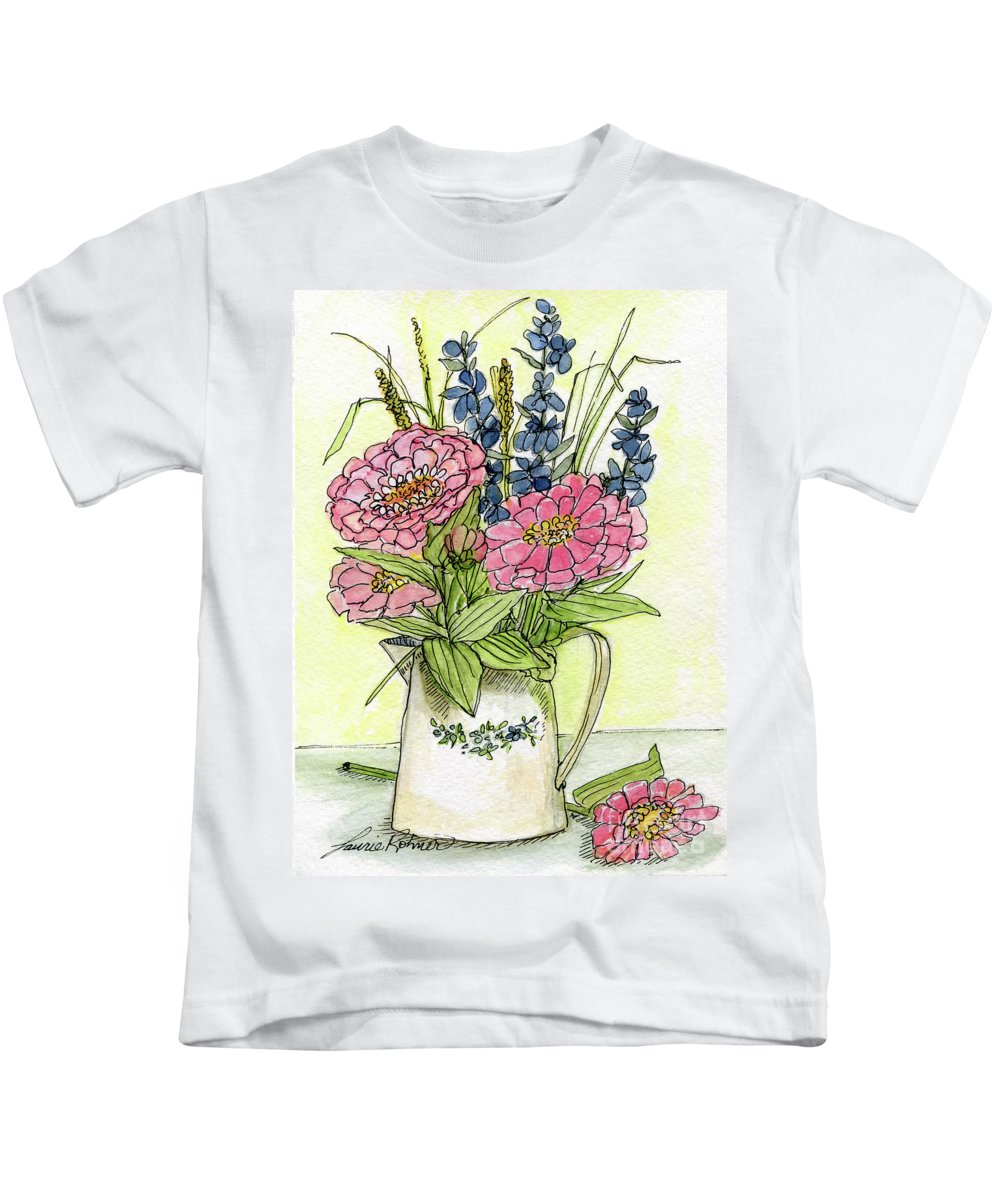 Pink Flowers Kids T-Shirt featuring the painting Pink Zinneas by Laurie Rohner