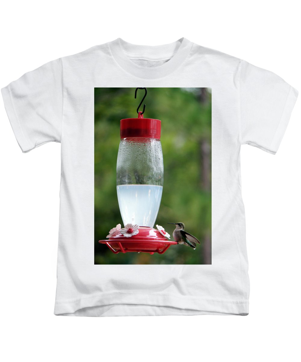Bird Hummingbird Nature Green Minnesota Kids T-Shirt featuring the photograph Pit Stop by Pete Mikelson