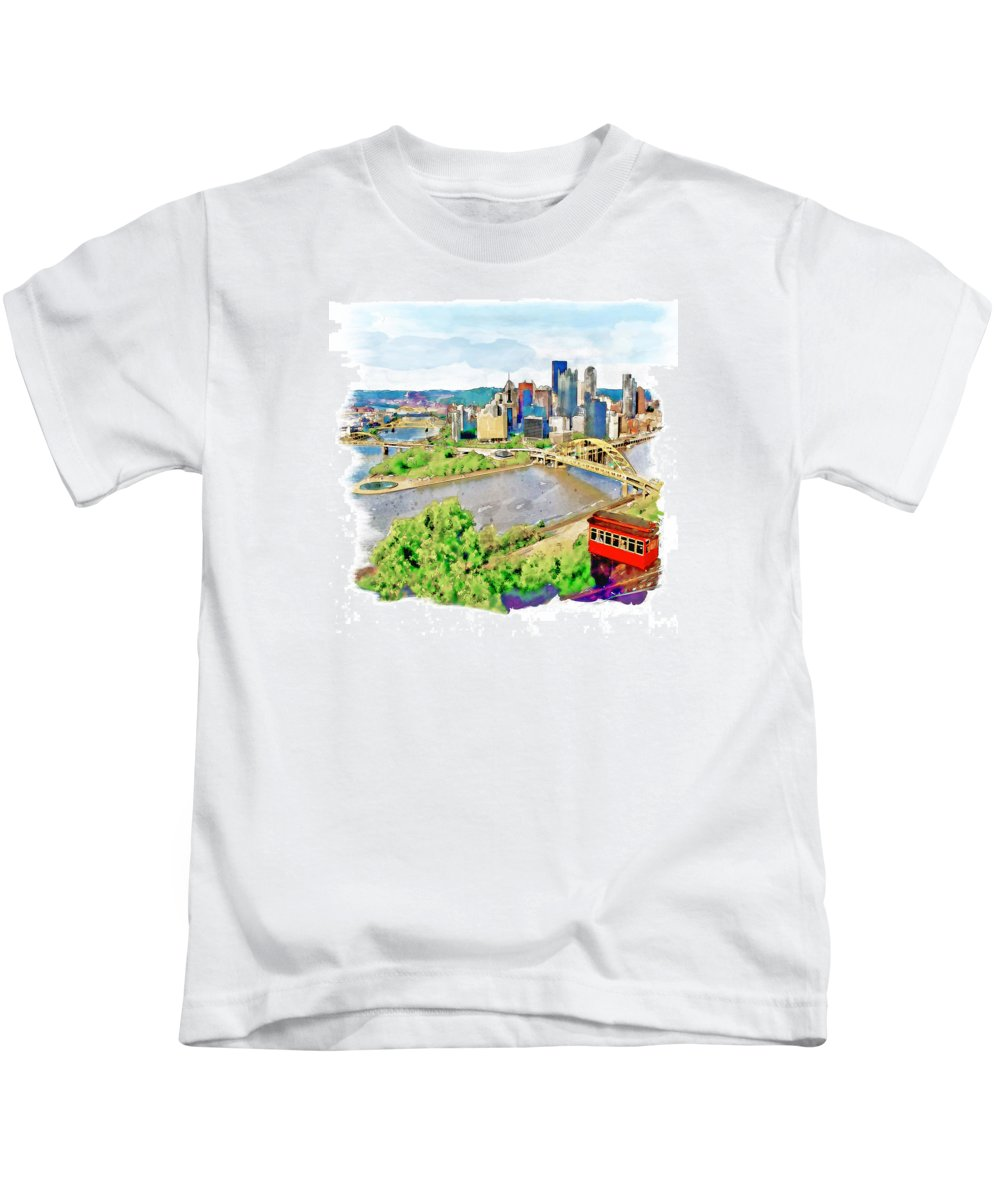 Pittsburgh Kids T-Shirt featuring the painting Pittsburgh Aerial View by Marian Voicu