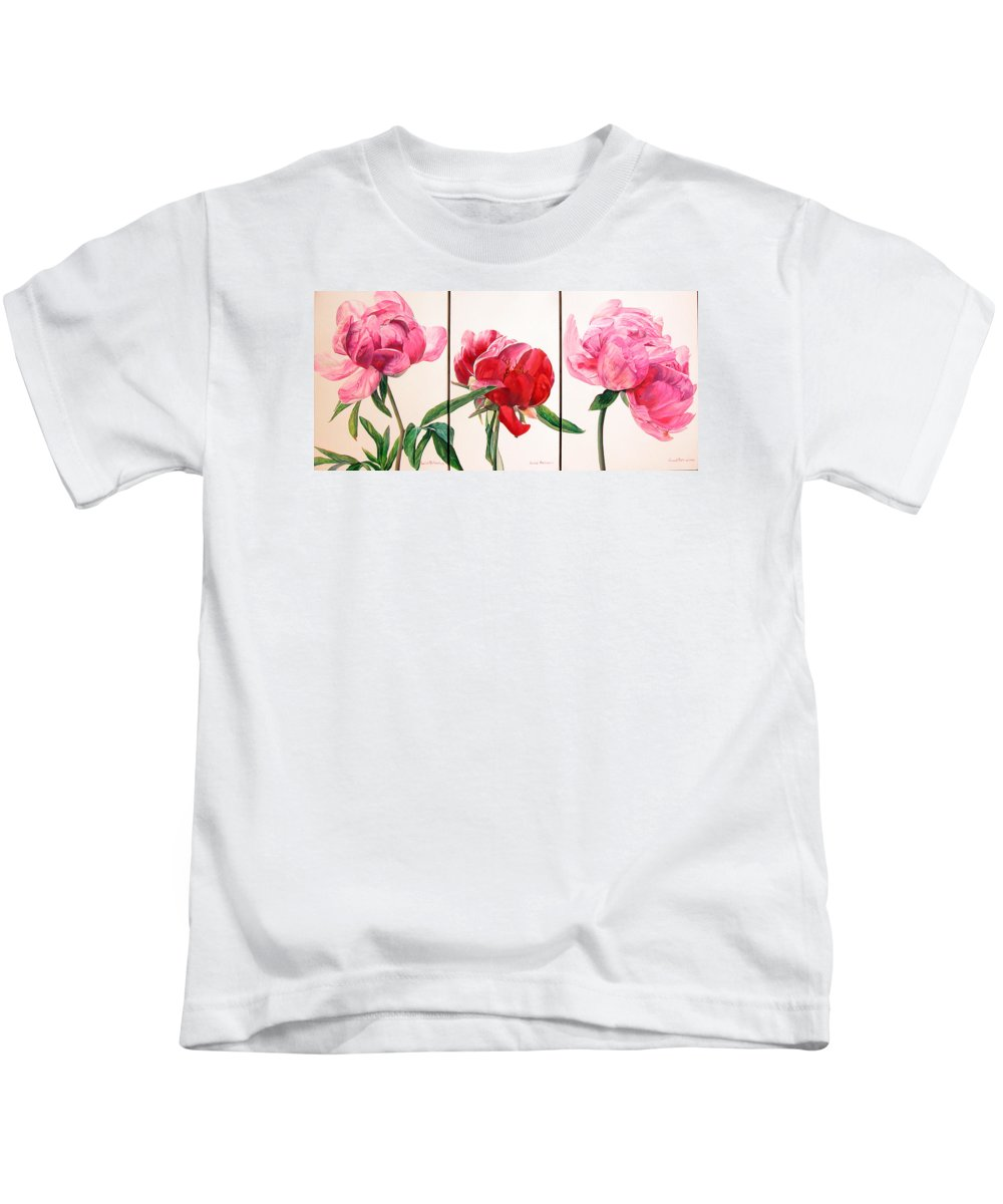 Floral Painting Kids T-Shirt featuring the painting Pivoines by Muriel Dolemieux