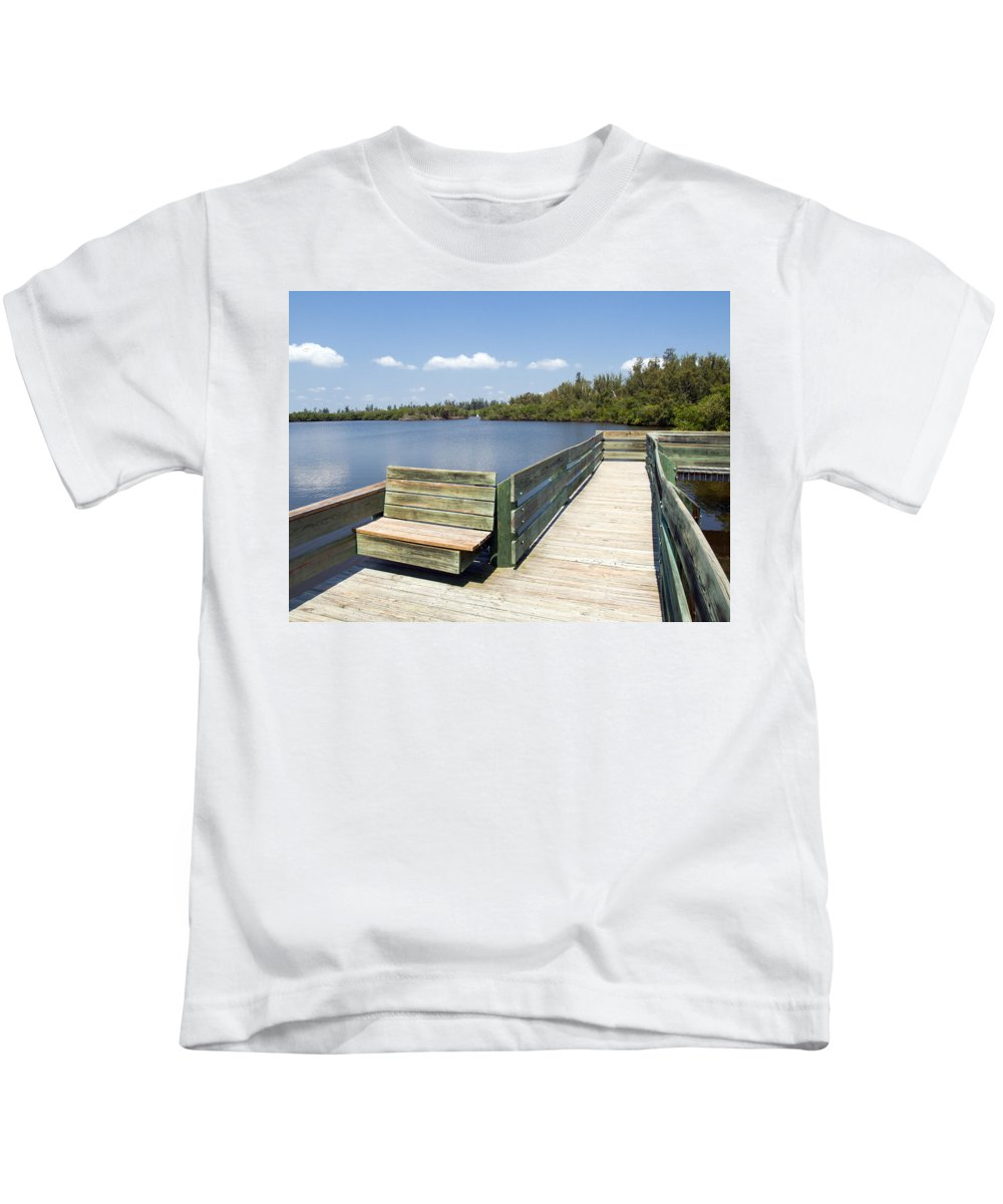 Kayak; Canoe; Florida; Round; Island; St; Saint; Lucie; County; Vero; Beach; Indian. River; Estuary; Kids T-Shirt featuring the photograph Place For Fishing Or Just Sitting At Round Island In Florida by Allan Hughes