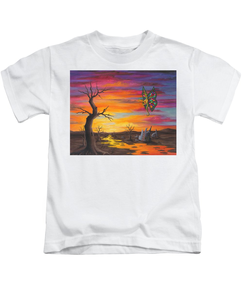 Fantasy Kids T-Shirt featuring the painting Planet Px7 by Roz Eve