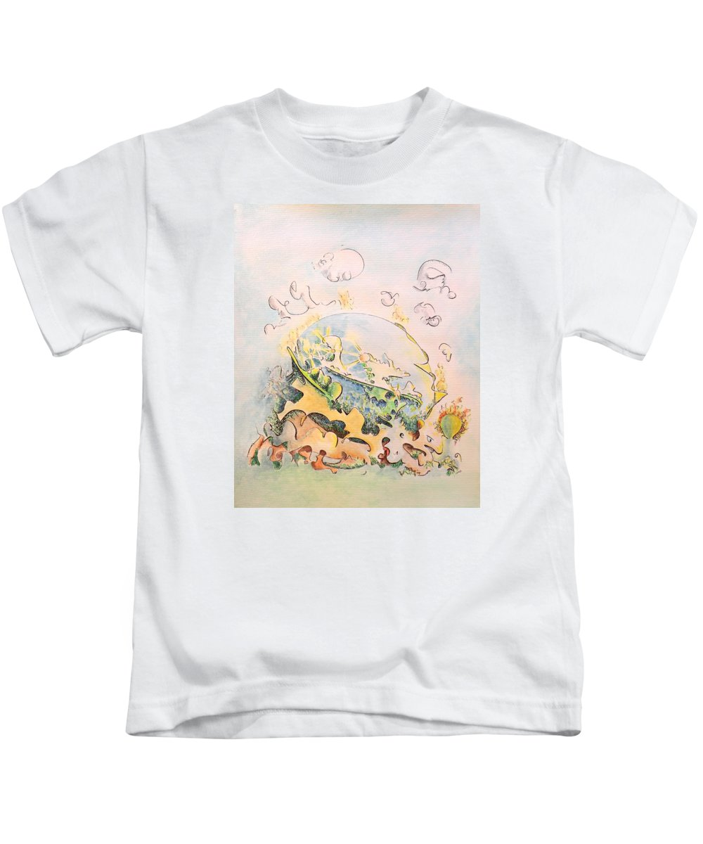 Planet Kids T-Shirt featuring the painting Planetary Chariot by Dave Martsolf