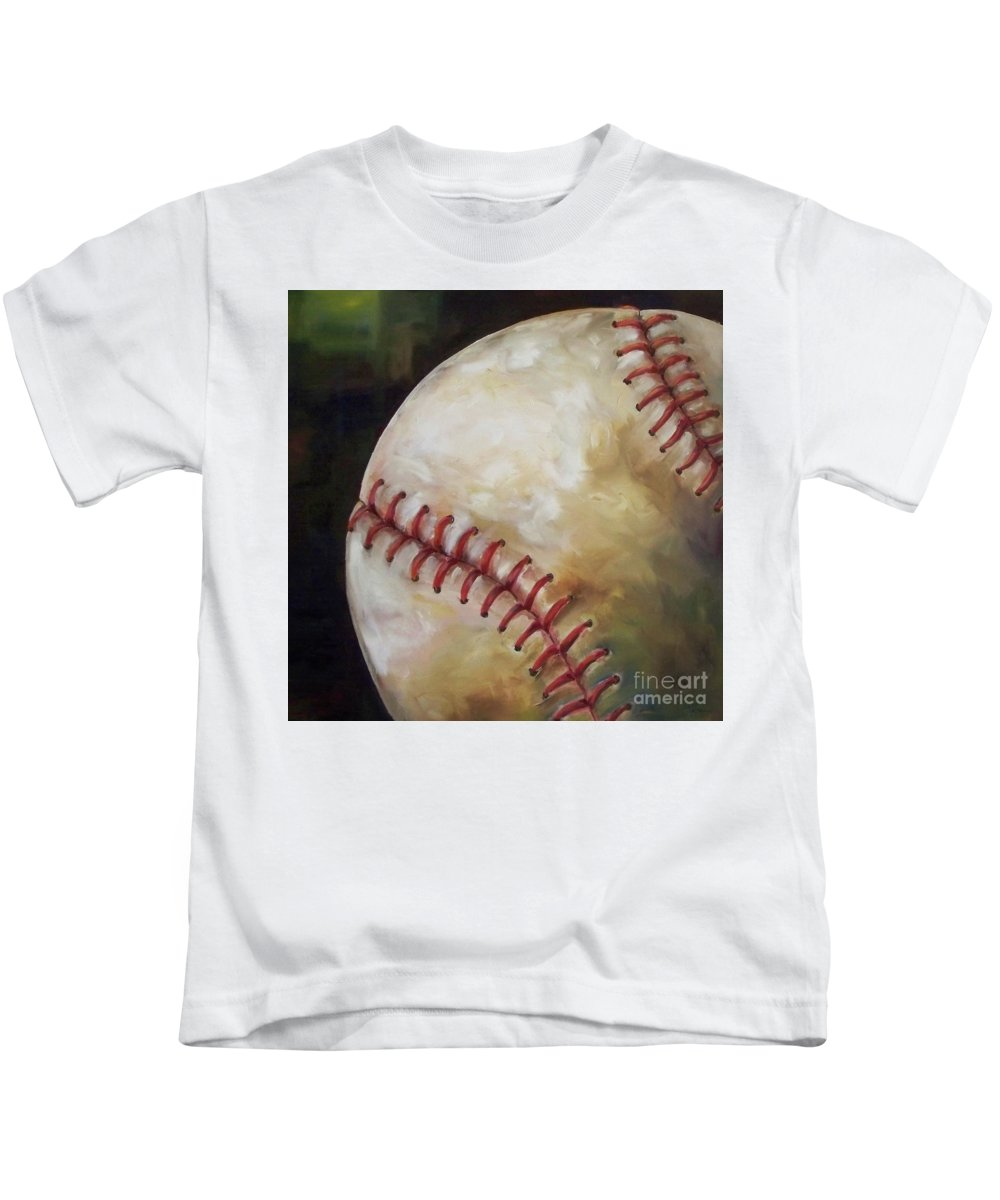 Baseball Kids T-Shirt featuring the painting Play Ball by Kristine Kainer