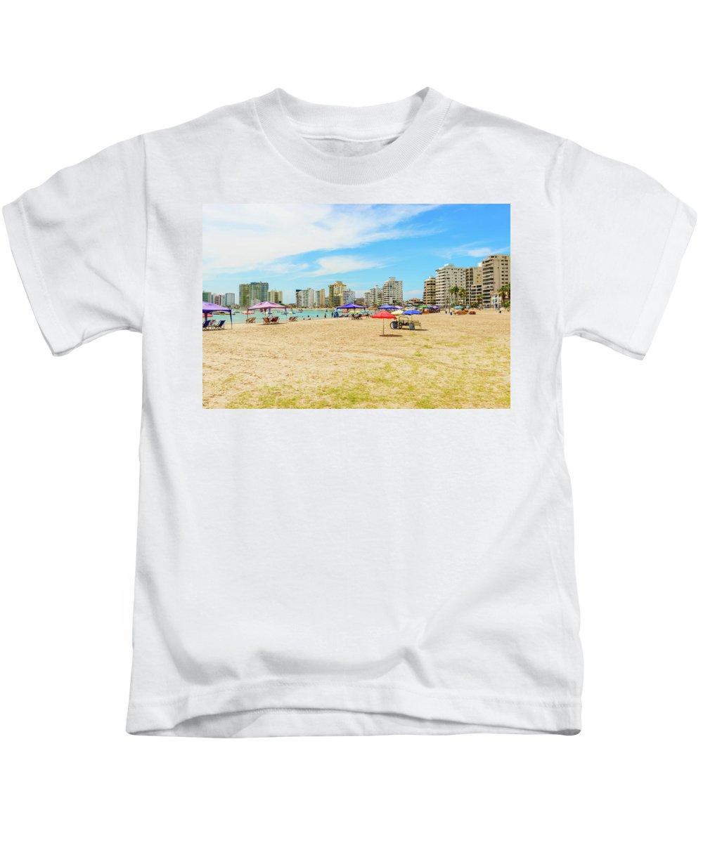 Salinas Kids T-Shirt featuring the photograph Playa De San Lorenzo In Salinas, Ecuador by Marek Poplawski
