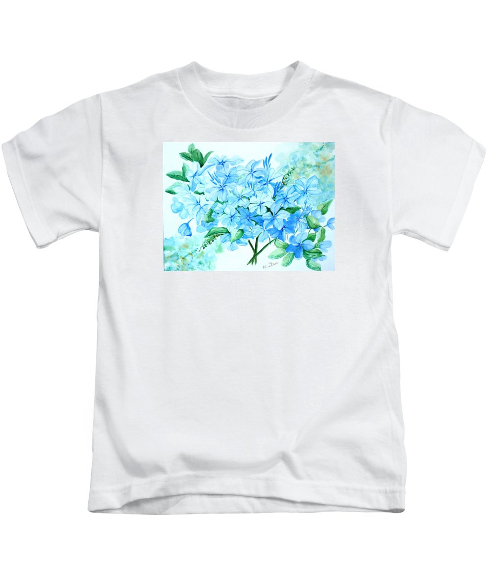 Floral Blue Painting Plumbago Painting Flower Painting Botanical Painting Bloom Blue Painting Kids T-Shirt featuring the painting Plumbago by Karin Dawn Kelshall- Best