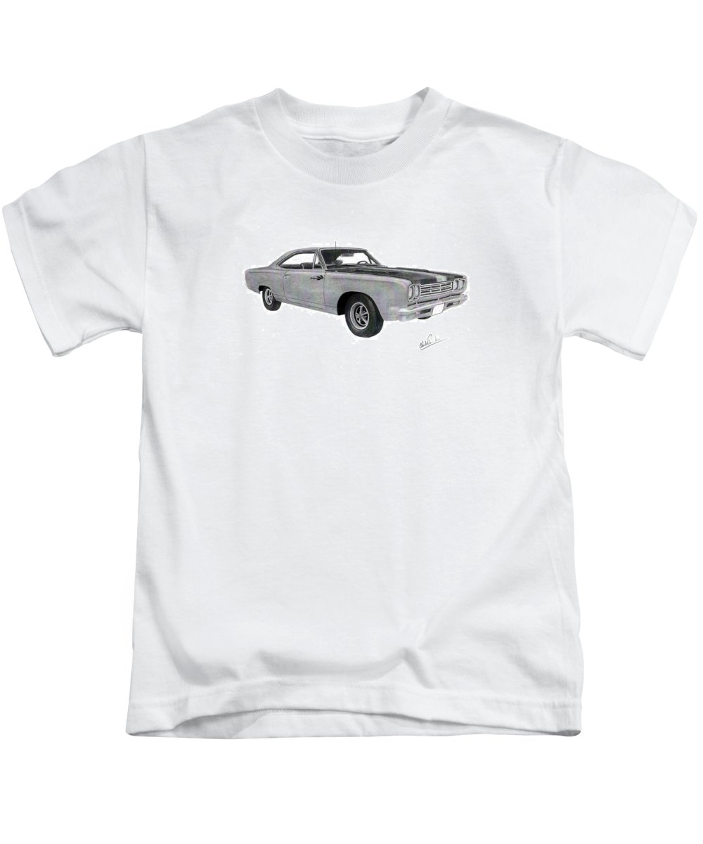 Car Art Kids T-Shirt featuring the drawing Plymouth Road Runner 1969 by Claude Prud' homme