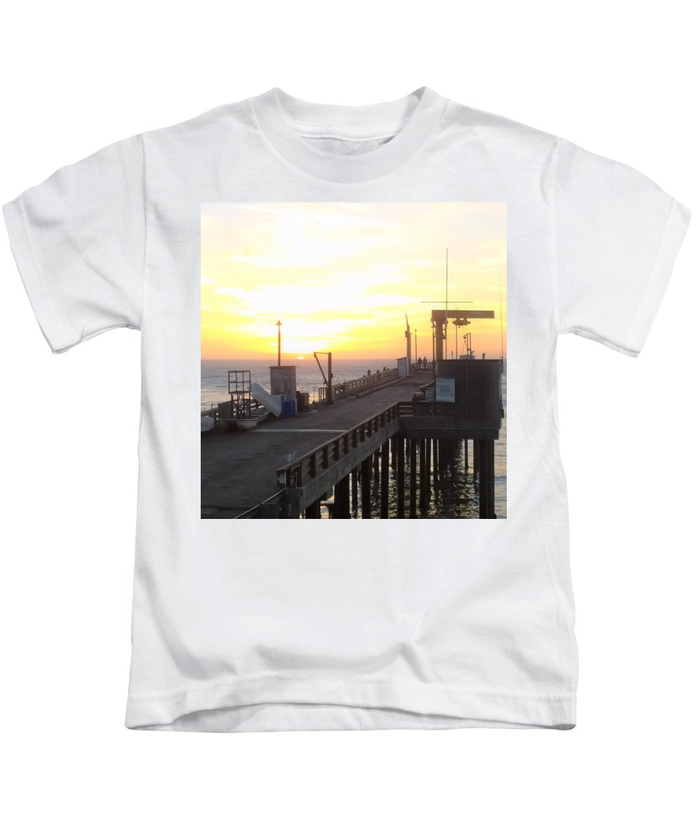Point Arena Wharf Kids T-Shirt featuring the photograph Point Arena Wharf by Lisa Dunn