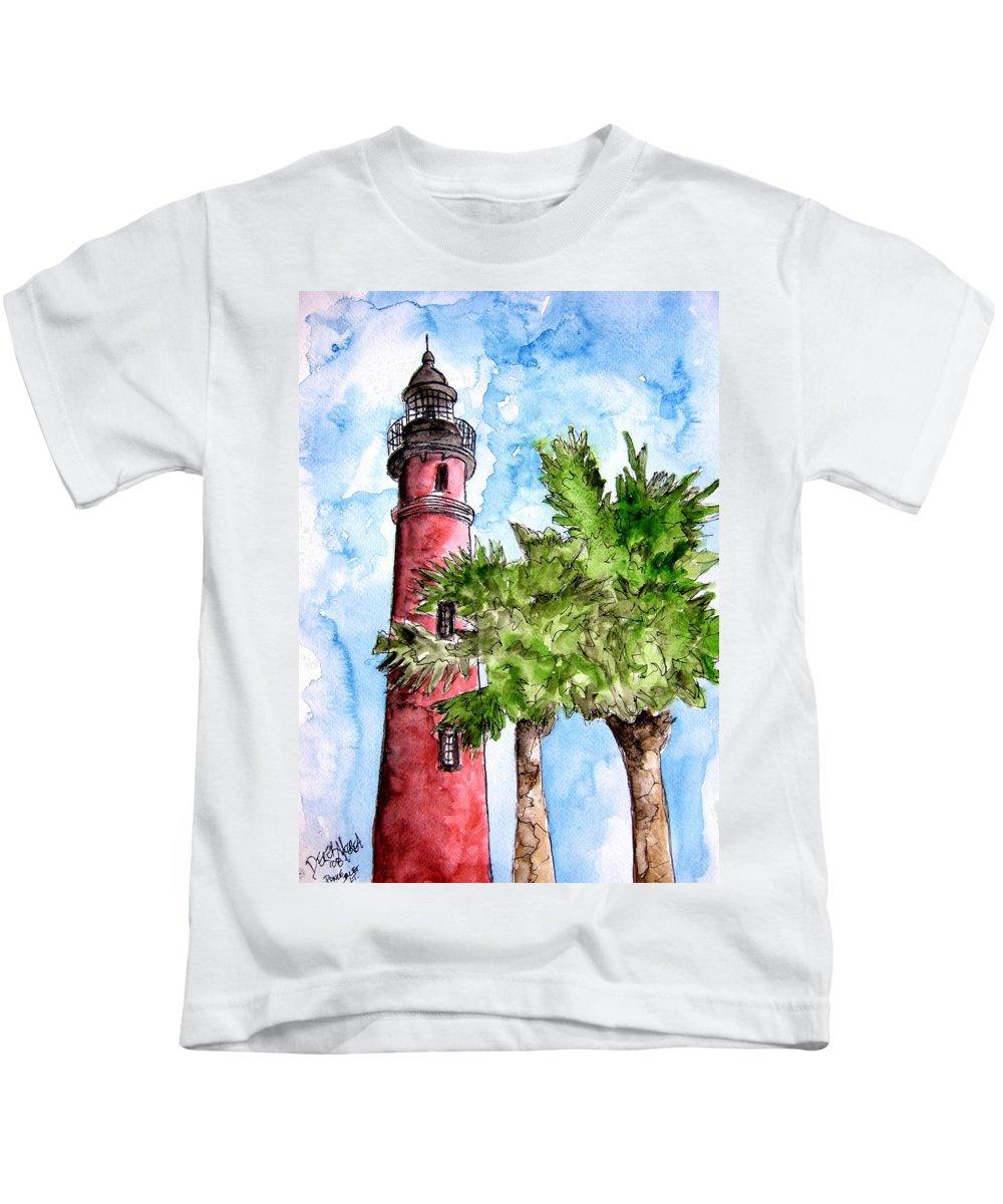 Ponce De Leon Kids T-Shirt featuring the painting Ponce De Leon Inlet Florida Lighthouse Art by Derek Mccrea