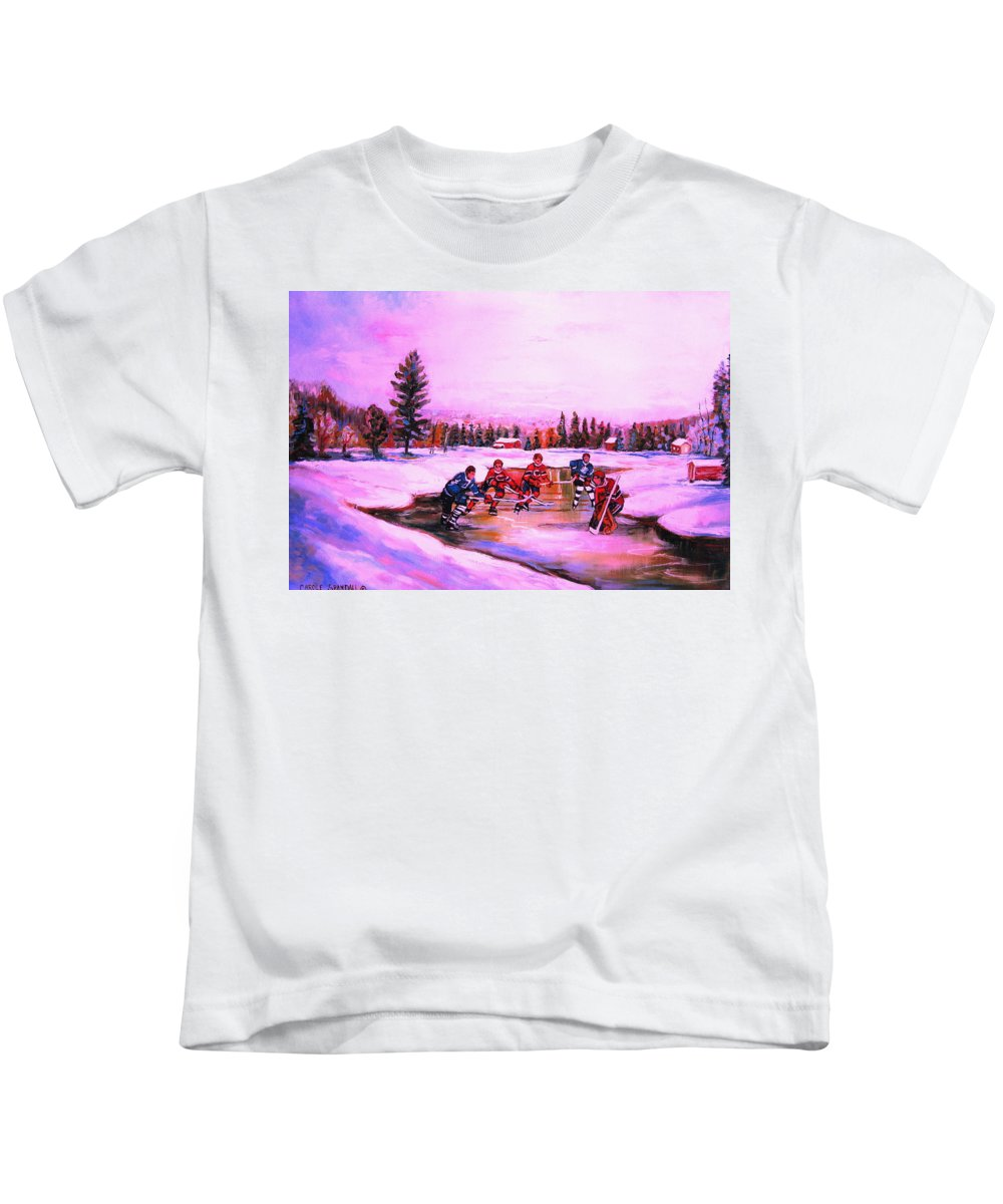 Hockey Kids T-Shirt featuring the painting Pond Hockey Warm Skies by Carole Spandau