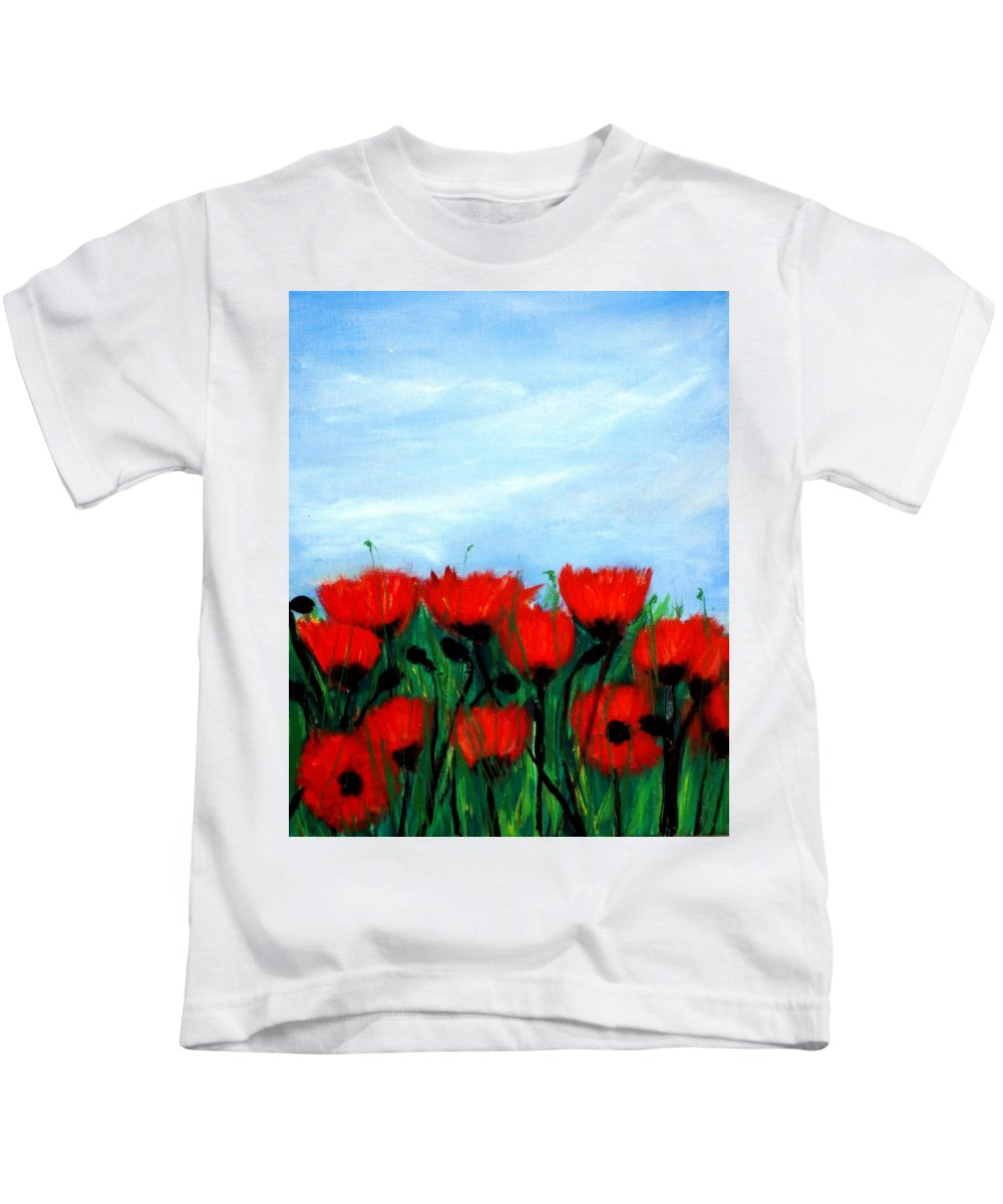 Poppy Kids T-Shirt featuring the painting Poppies In A Field by Katy Hawk