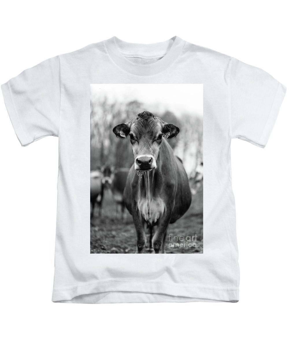 b3a002a8 Livestock Kids T-Shirt featuring the photograph Portrait Of A Dairy Cow In  The Rain