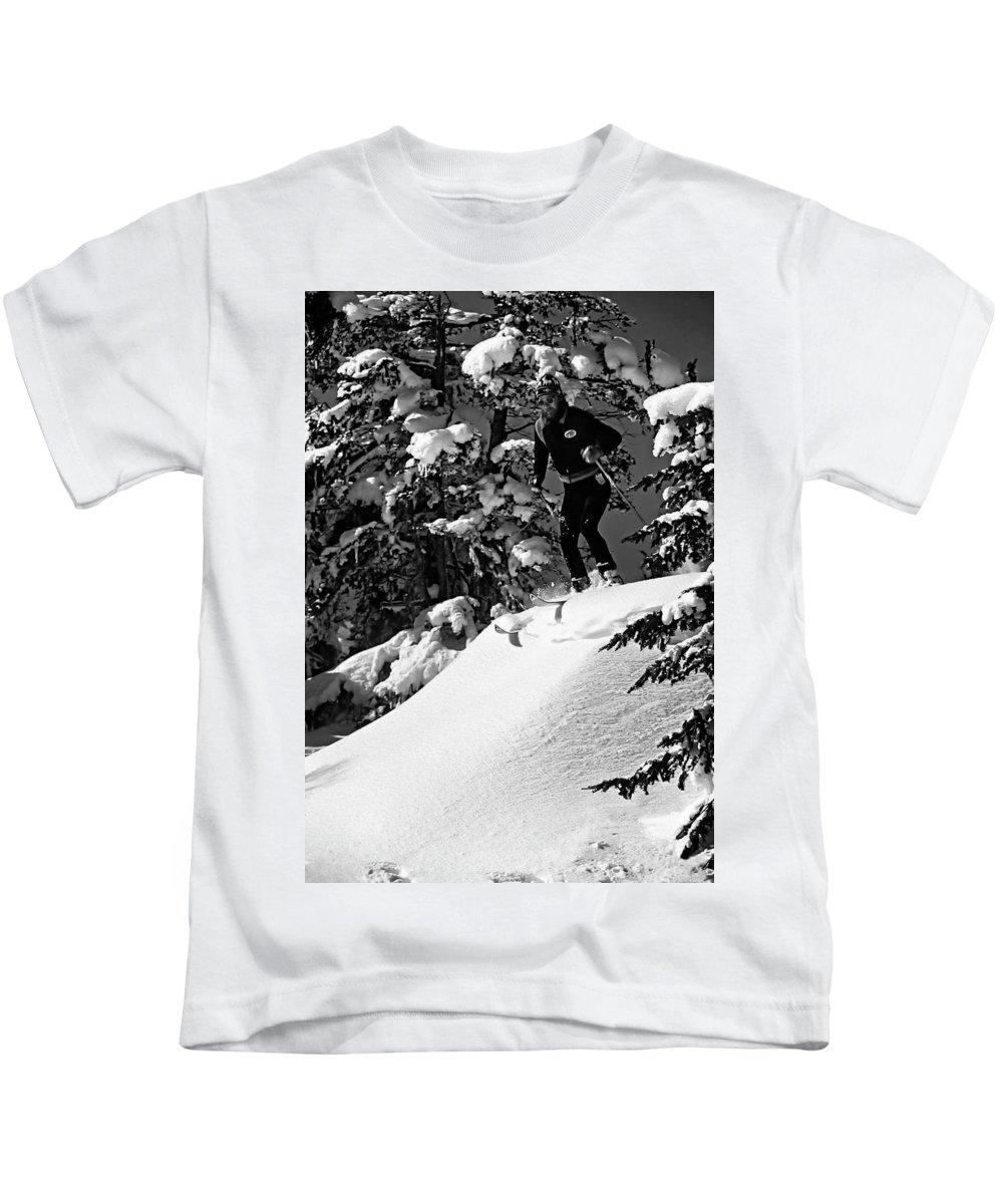 Smuggler's Notch Kids T-Shirt featuring the photograph Powder Hound Bw Version by Steve Harrington