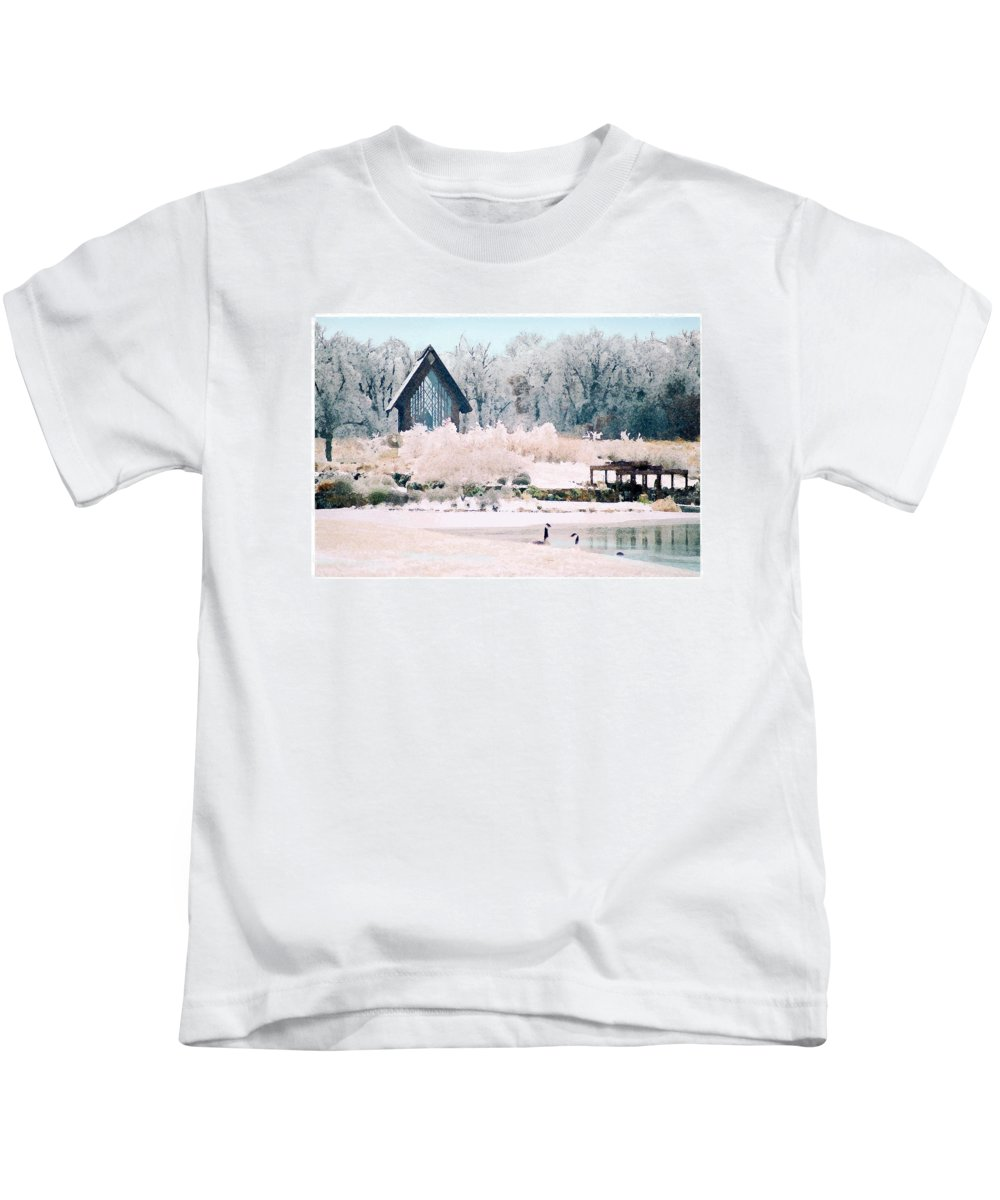 Landscape Kids T-Shirt featuring the photograph Powell Gardens Chapel by Steve Karol