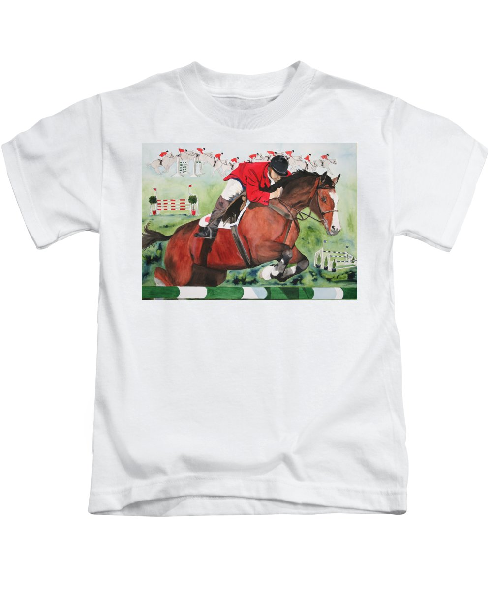 Horse Kids T-Shirt featuring the painting Practice Makes Perfect by Jean Blackmer