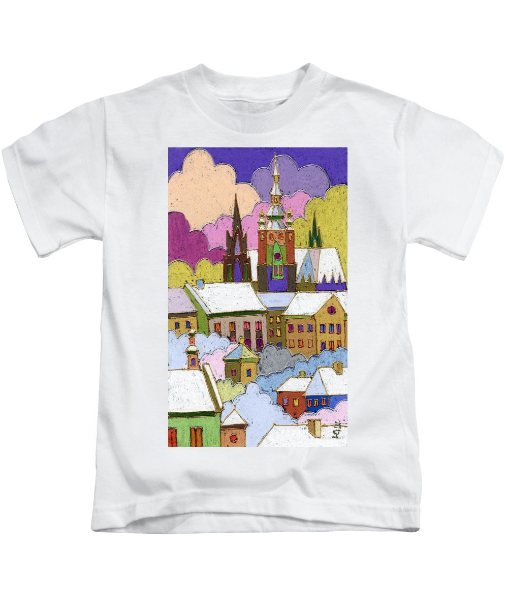 Pastel Kids T-Shirt featuring the painting Prague Old Roofs Prague Castle Winter by Yuriy Shevchuk