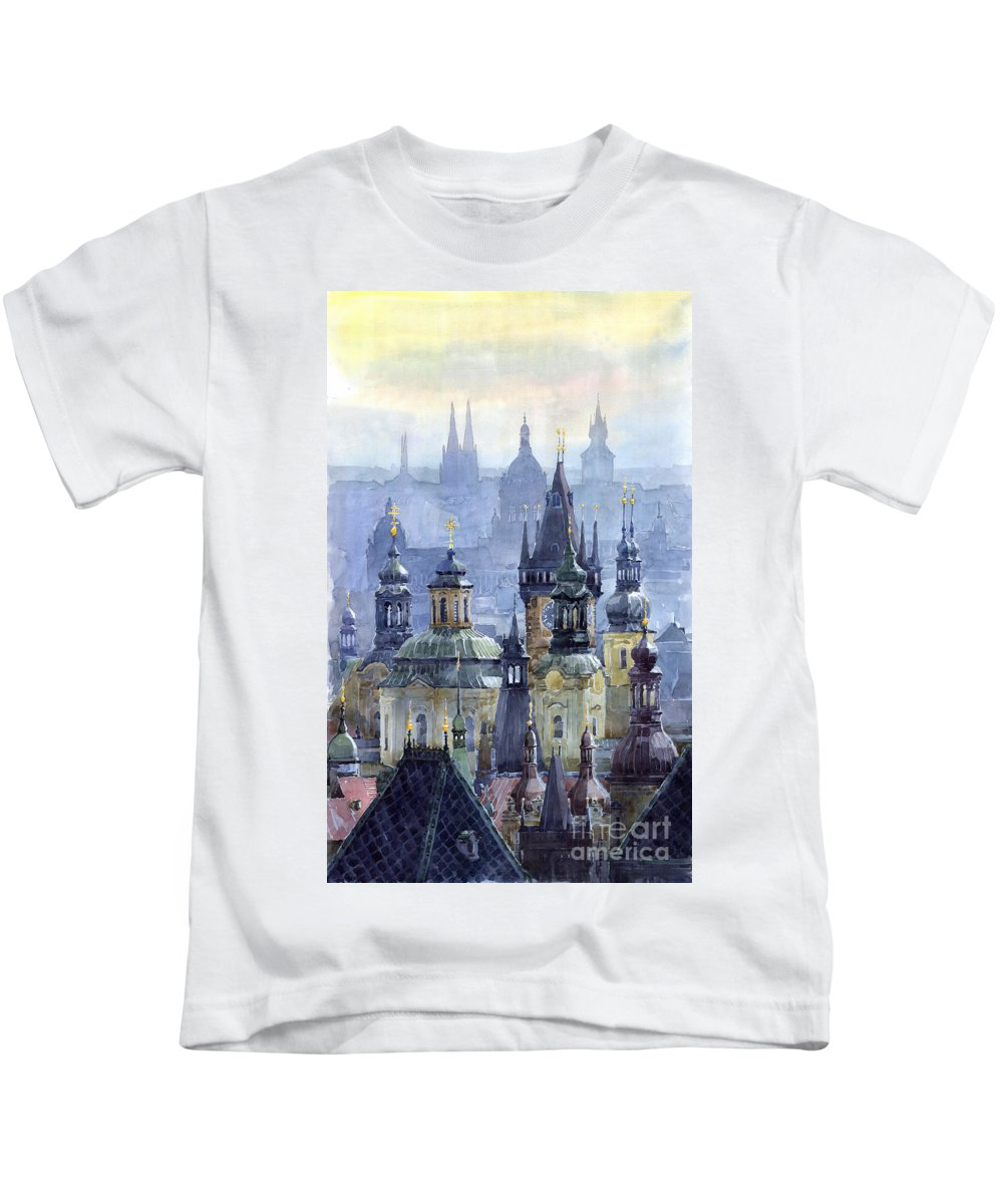 Architecture Kids T-Shirt featuring the painting Prague Towers by Yuriy Shevchuk