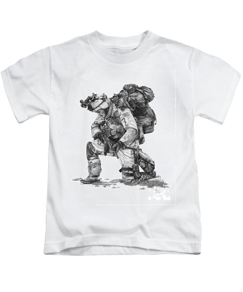 Pencil Kids T-Shirt featuring the drawing Praying Soldier by Murphy Elliott