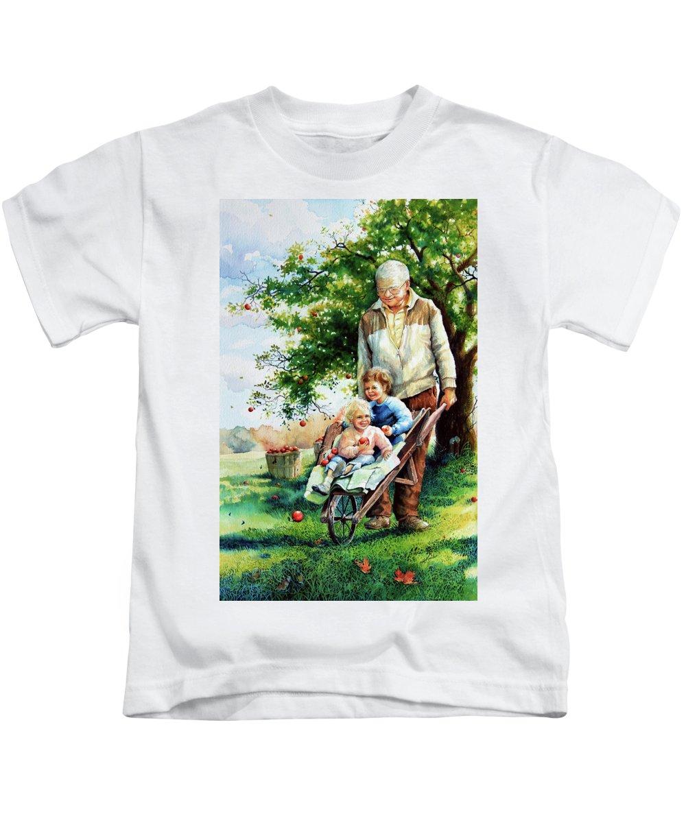 Wheelbarrow Kids T-Shirt featuring the painting Precious Cargo by Hanne Lore Koehler