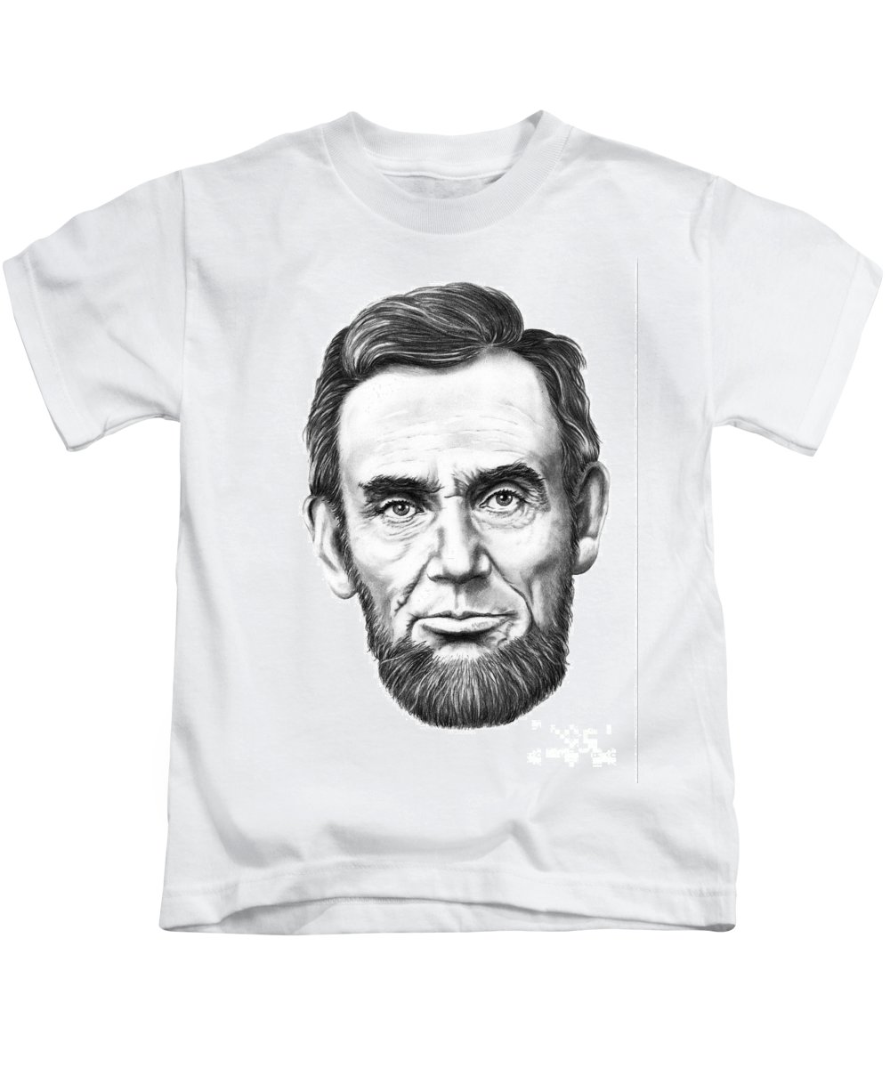 President Abe Lincoln Kids T-Shirt featuring the drawing President Abe Lincoln by Murphy Elliott