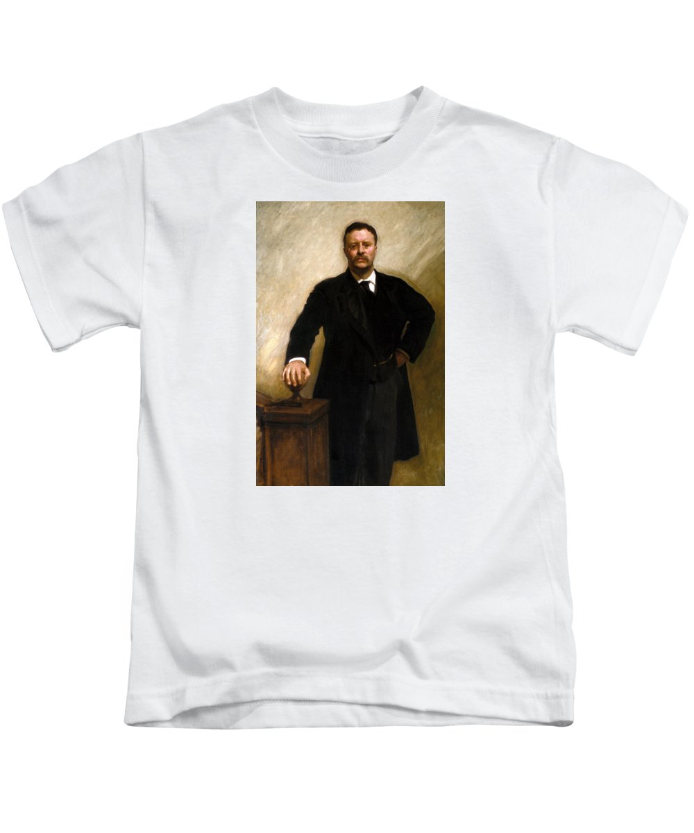 Us Presidents Kids T-Shirt featuring the painting President Theodore Roosevelt Painting by War Is Hell Store