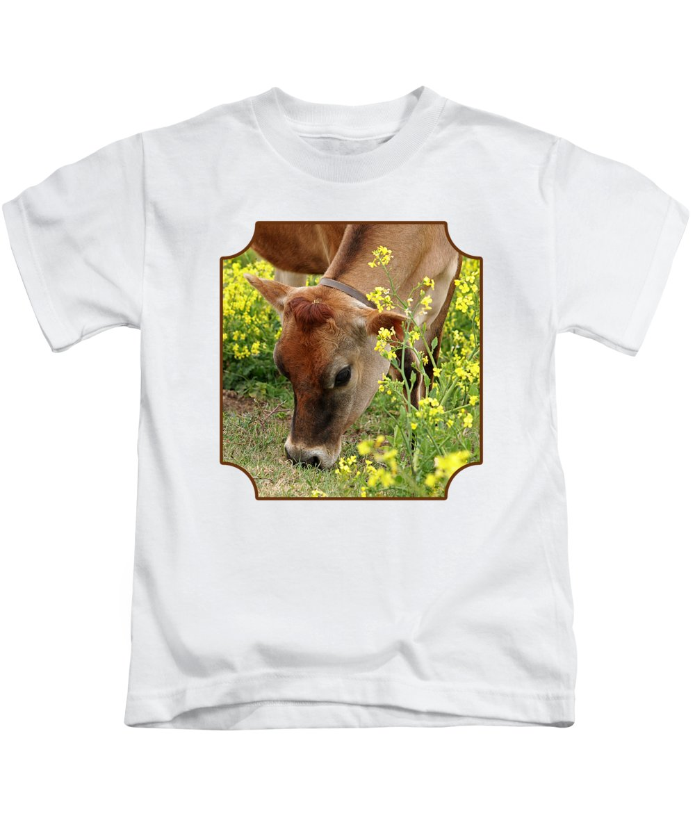 Jersey Cow Kids T-Shirt featuring the photograph Pretty Jersey Cow Square by Gill Billington