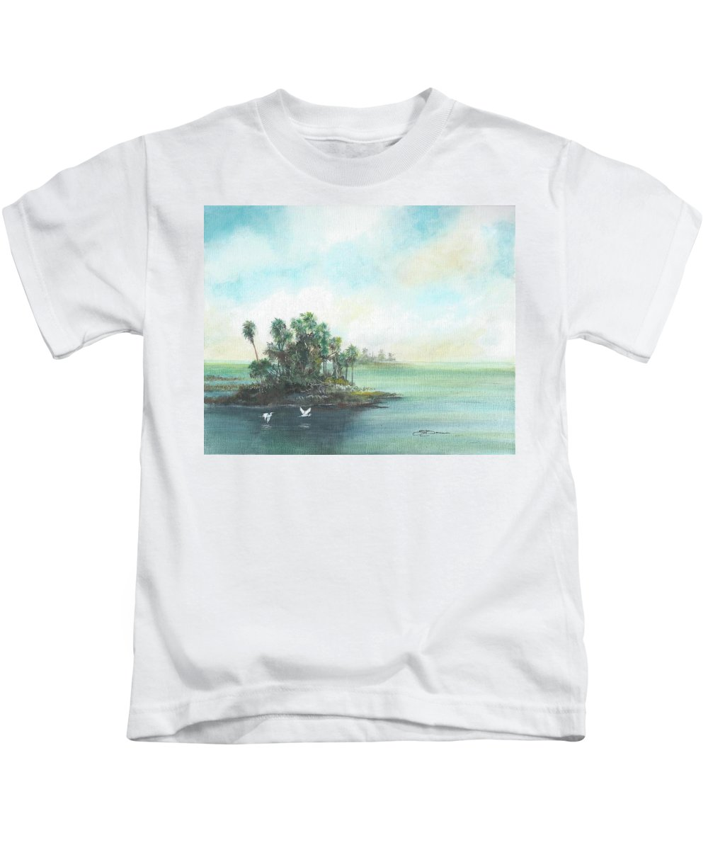 Gulf Kids T-Shirt featuring the painting Private Island by Sharon Bowman