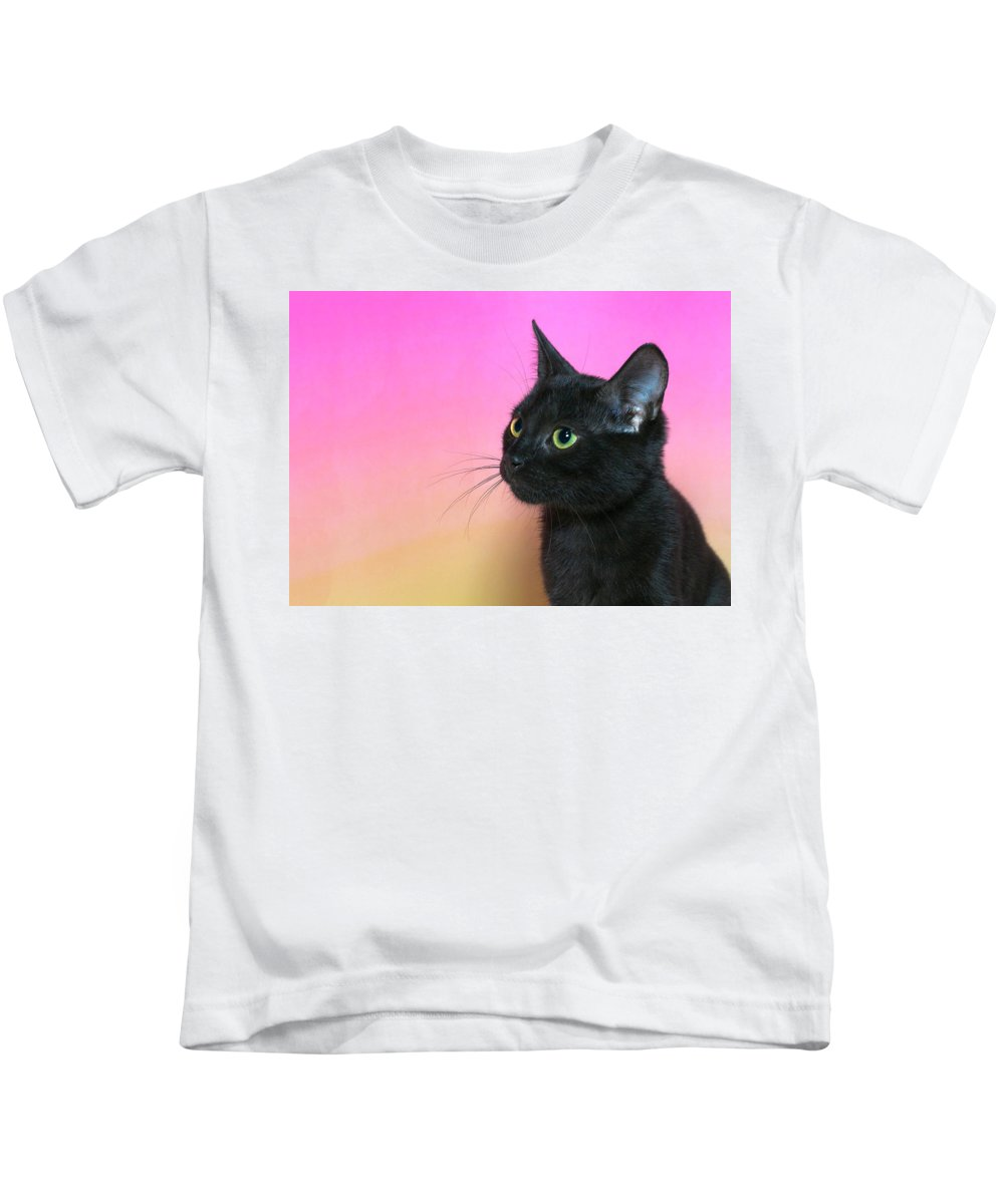 Adorable Kids T-Shirt featuring the photograph Profile Portrait Of A Black Kitten by Sheila Fitzgerald