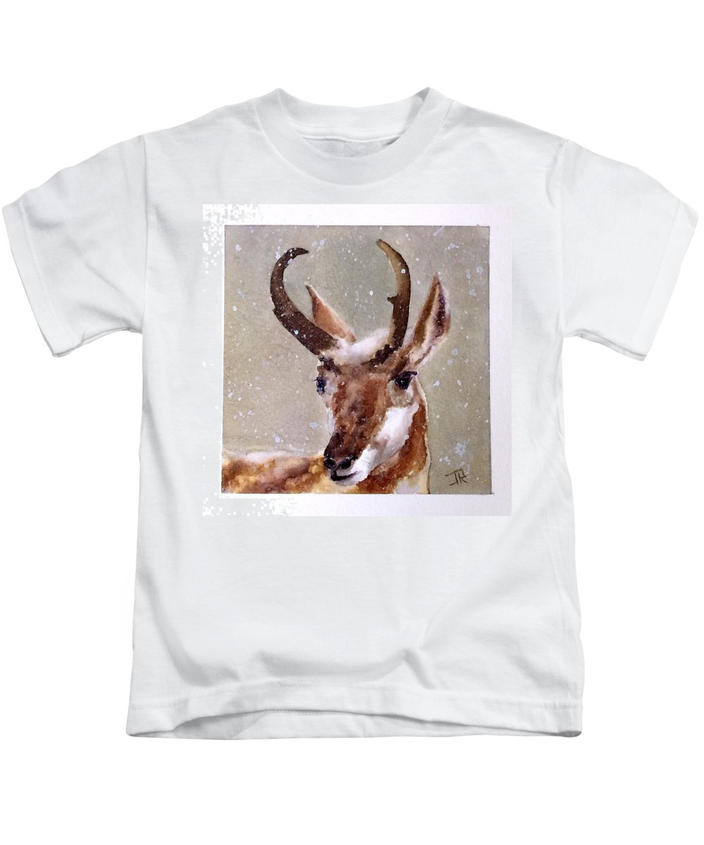 Wildlife Kids T-Shirt featuring the painting Pronghorn by June Rollins