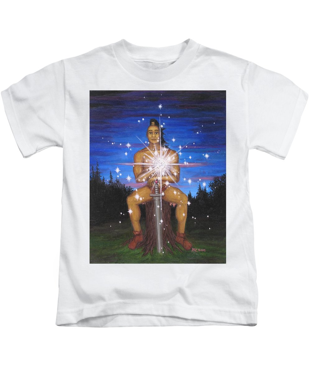 Fantasy Kids T-Shirt featuring the painting Protector Of The Mystical Forest by Roz Eve