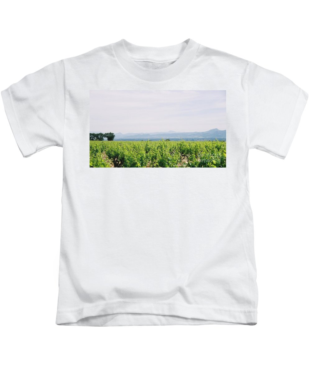 France Kids T-Shirt featuring the photograph Provence Spring Vineyard by Nadine Rippelmeyer