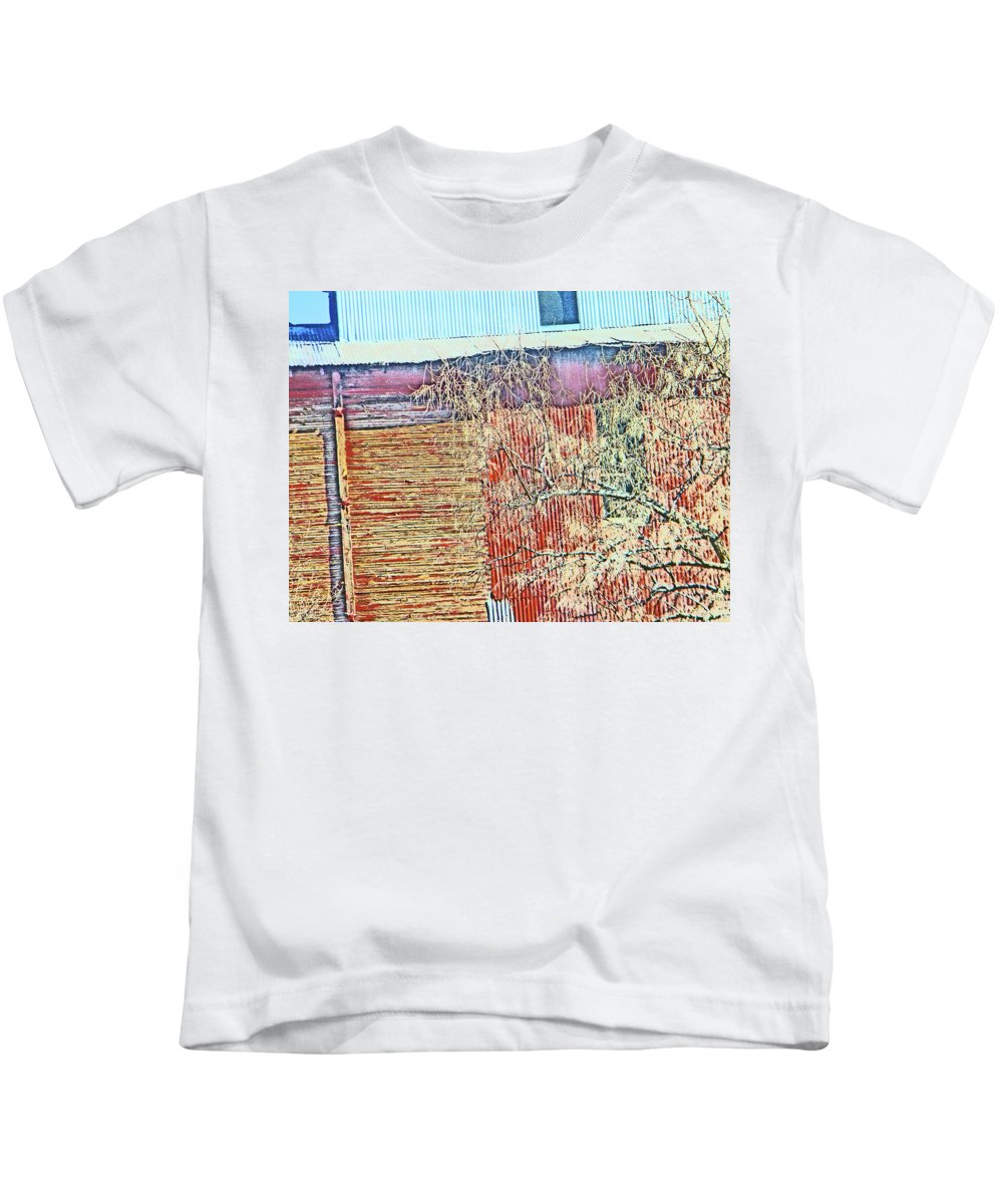 Abstract Kids T-Shirt featuring the photograph Pueblo Downtown--sweeney Feed Mill 2 by Lenore Senior