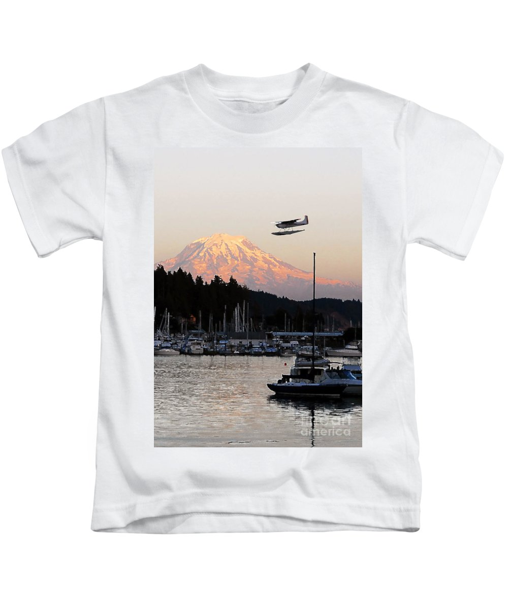 Puget Sound Kids T-Shirt featuring the photograph Puget Sound Landing by David Lee Thompson